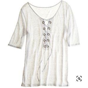 Calypso St. Barth Lace Up Linen T-Shirt